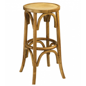Antique Walnut Bistro Style Backless Commercial Bar Stool with Wood Veneer Seat