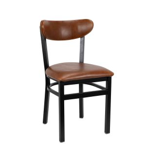 Black Metal Commercial Chair with Kidney Shaped Upholstered Back and Upholstered Seat