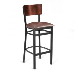 Black Metal Commercial Bar Stool with Square Dark Mahogany Veneer Back and Upholstered Seat
