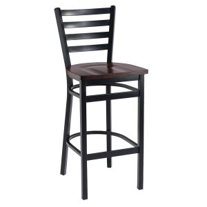 Black Steel Ladderback Restaurant Bar Stool with Solid Beechwood Seat (front)