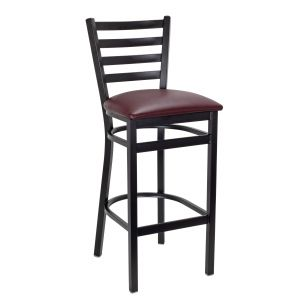 Black Steel Ladderback Restaurant Bar Stool with Upholstered Seat (Front)