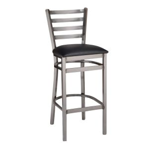 Clear Coat Distressed Finish Steel Ladderback Restaurant Bar Stool with Upholstered Seat (front)