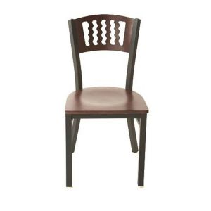 Solid Wood Restaurant Dining Chair With Dark Mahogany Veneer Seat and Back (front)