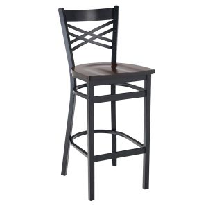 Black Metal X-Back Commercial Bar Stool with Solid Beechwood Seat (front)