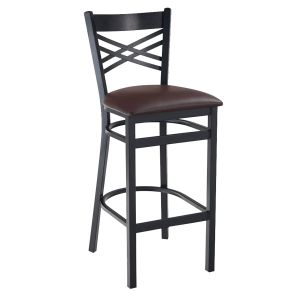 Black Metal X-Back Commercial Bar Stool with Upholstered Seat (front)