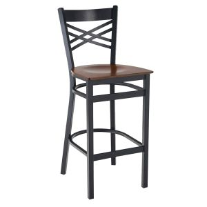 Black Metal X-Back Commercial Bar Stool with Veneer Seat (front)