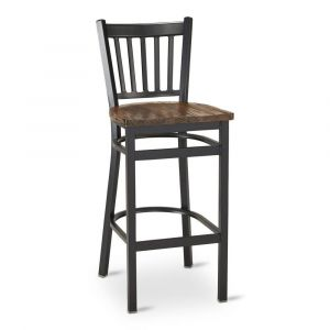 Black Metal Vertical-Back Commercial Bar Stool with Reclaimed Wood Seat (front)