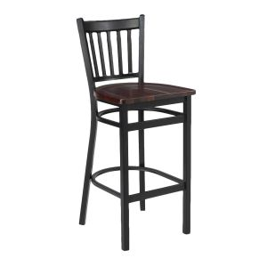 Black Metal Vertical-Back Commercial Bar Stool with Solid Beechwood Seat (front)
