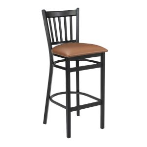 Black Metal Vertical-Back Commercial Bar Stool with Upholstered Seat (front)