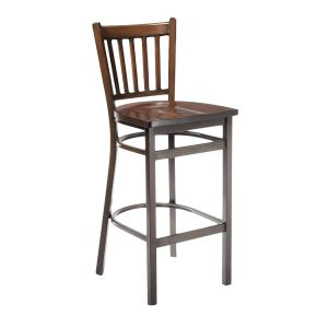 Walnut Metal Vertical-Back Commercial Bar Stool with Solid Beechwood Seat (front)