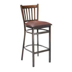 Walnut Metal Vertical-Back Commercial Bar Stool with Upholstered Seat (front)