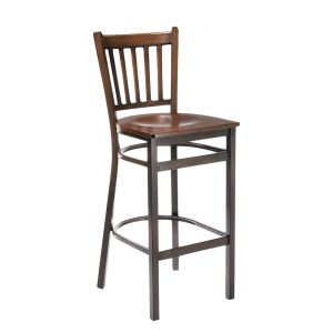 Walnut Metal Vertical-Back Commercial Bar Stool with Veneer Seat (front)