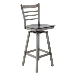 Distressed Clear Swivel Ladderback Restaurant Bar stool with Veneer Seat (Front)