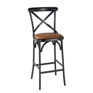 Antique-Look Metal Cross-Back Commercial Bar Stool with Upholstered Seat (front)