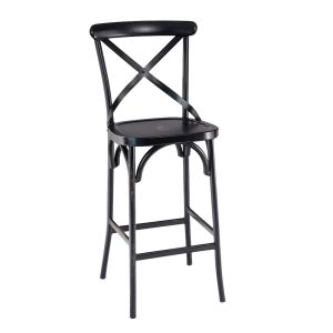 Antique-Look Metal Cross-Back Commercial Bar Stool with Metal Seat (front)