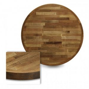 Butcher Block Mixed Wood Indoor Round Dining Table Top in Urban Maple Finish (48