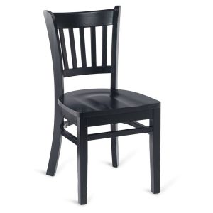 Black Wood Vertical-Back Commercial Chair with Solid Beechwood Seat