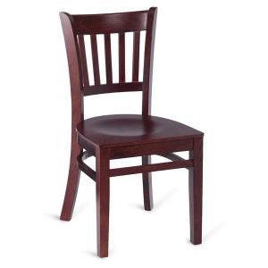 Dark Mahogany Wood Vertical-Back Commercial Chair with Veneer Seat