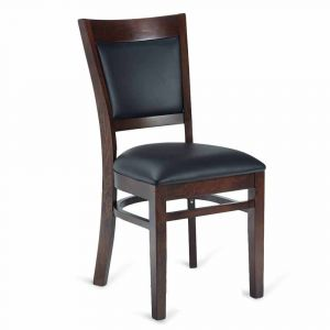 Walnut Wood Easton Commercial Chair with Black Vinyl Seat & Back