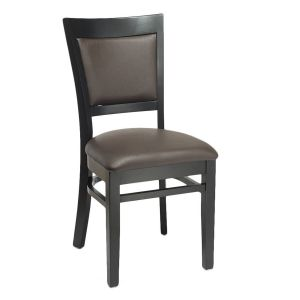 Black Wood Finish Easton Commercial Chair with Upholstered Seat & Back