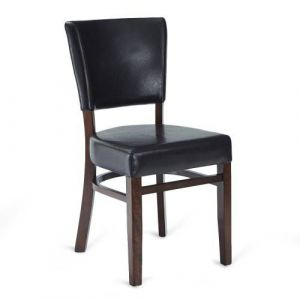 Fully Upholstered Wood Bennett Restaurant Chair with Brown Vinyl (Front)