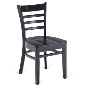Black Wood Ladderback Commercial Chair with Solid Beechwood Seat