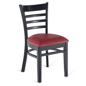 Black Wood Ladderback Commercial Chair with Upholstered Seat
