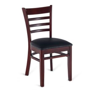 Dark Mahogany Wood Ladderback Commercial Chair with Upholstered Seat