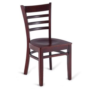 Dark Mahogany Wood Ladderback Commercial Chair with Veneer Seat