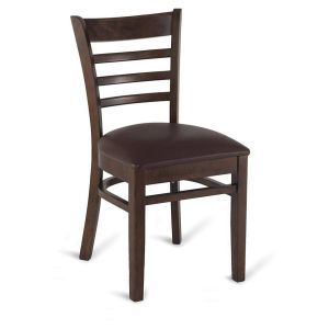 Walnut Wood Ladderback Commercial Chair with Upholstered Seat