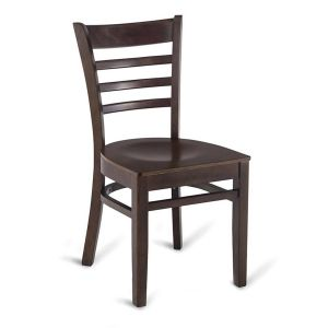 Walnut Wood Ladderback Commercial Chair with Veneer Seat