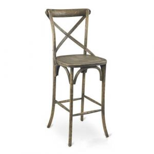 Antique Grey Oak Wood Cross-Back Commercial Bar Stool