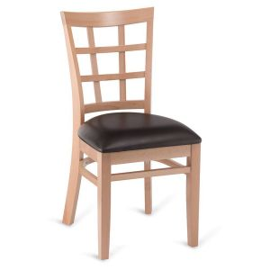 Natural Wood Lattice-Back Restaurant Chair with Upholstered Seat