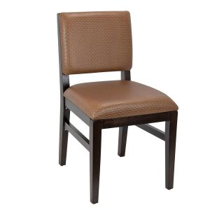 Walnut Wood Connor Restaurant Chair with Upholstered Seat & Back (Front)