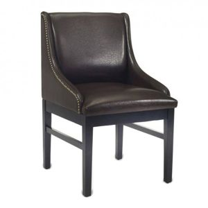 Fully Upholstered Black Wood Bentley Restaurant Chair with Brown Vinyl and Nail Trim