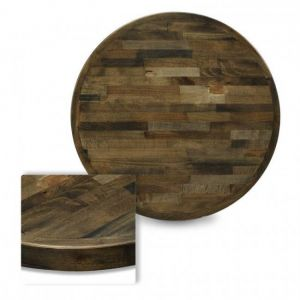 Butcher Block Mixed Wood Indoor Round Dining Table Top in Urban Grey Finish (24