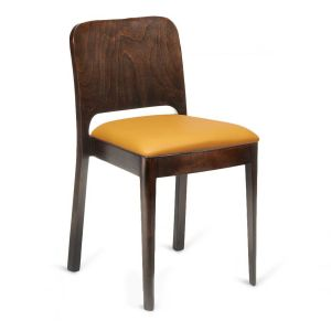 Walnut Wood Collin Stackable Commercial Chair with Veneer Back and Upholstered Seat