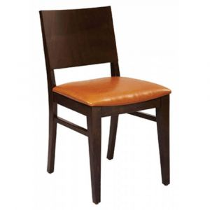 Walnut Wood Commercial Chair with Upholstered Seat