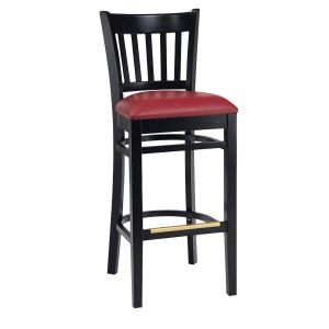 Black Wood Vertical-Back Commercial Bar Stool with Upholstered Seat (front)