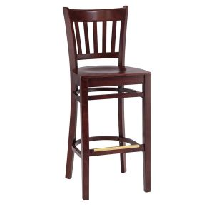 Dark Mahogany Wood Vertical-Back Commercial Bar Stool with Veneer Seat (front)