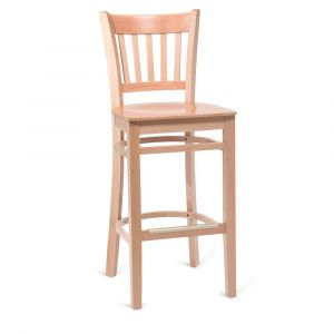 Natural Wood Vertical-Back Commercial Bar Stool with Veneer Seat (Front)