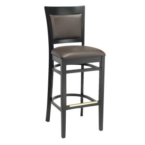 Black Wood Finish Easton Commercial Bar Stool with Upholstered Seat & Back (front)