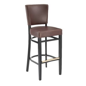 Fully Upholstered Black Wood Bennett Restaurant Bar Stool with Burgundy Vinyl (front)