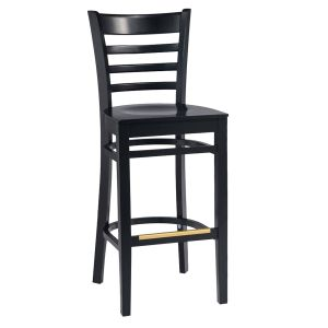 Black Wood Ladderback Commercial Bar Stool with Veneer Seat (front)