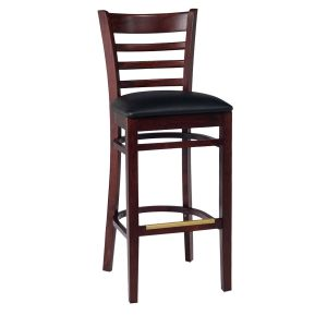 Dark Mahogany Wood Ladderback Commercial Bar Stool with Upholstered Seat (front)
