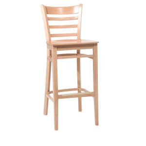Natural Wood Ladderback Commercial Bar Stool with Beechwood Veneer Seat (front)