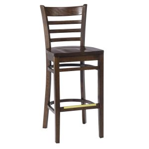 Walnut Wood Ladderback Commercial Bar Stool with Solid Beechwood Seat (front)