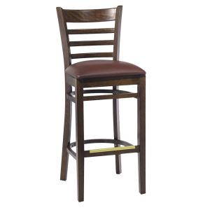 Walnut Wood Ladderback Commercial Bar Stool with Upholstered Seat (front)