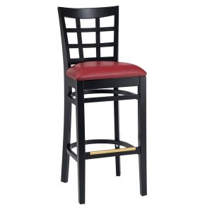 Black Wood Lattice-Back Restaurant Bar Stool with Upholstered Seat (front)