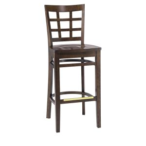 Walnut Wood Lattice-Back Restaurant Bar Stool with Solid Beechwood Seat (front)
